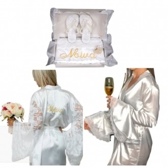 COMBO= Robe Manga Longa Bufante com detalhe em renda + Kit Presente Noiva (caixa + Chinelo + robe com manga flare de renda)
