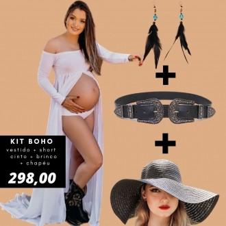 Kit BOHO - Vestido + short + cinto+ brinco + chapéu