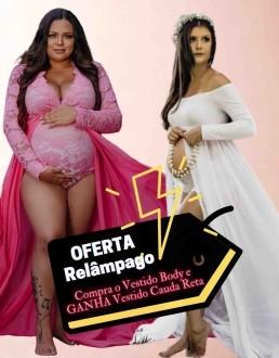 Oferta Relâmpago - Compre Vestido Body de Saia Removível e GANHA 1 Vestido Manga Longa Cauda Reta