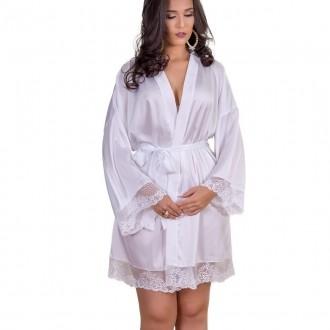 Robe Manga Quadrada com detalhe em renda