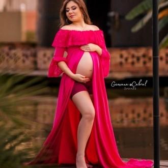 Vestido gestante com renda + shorts Priscila Fontinele