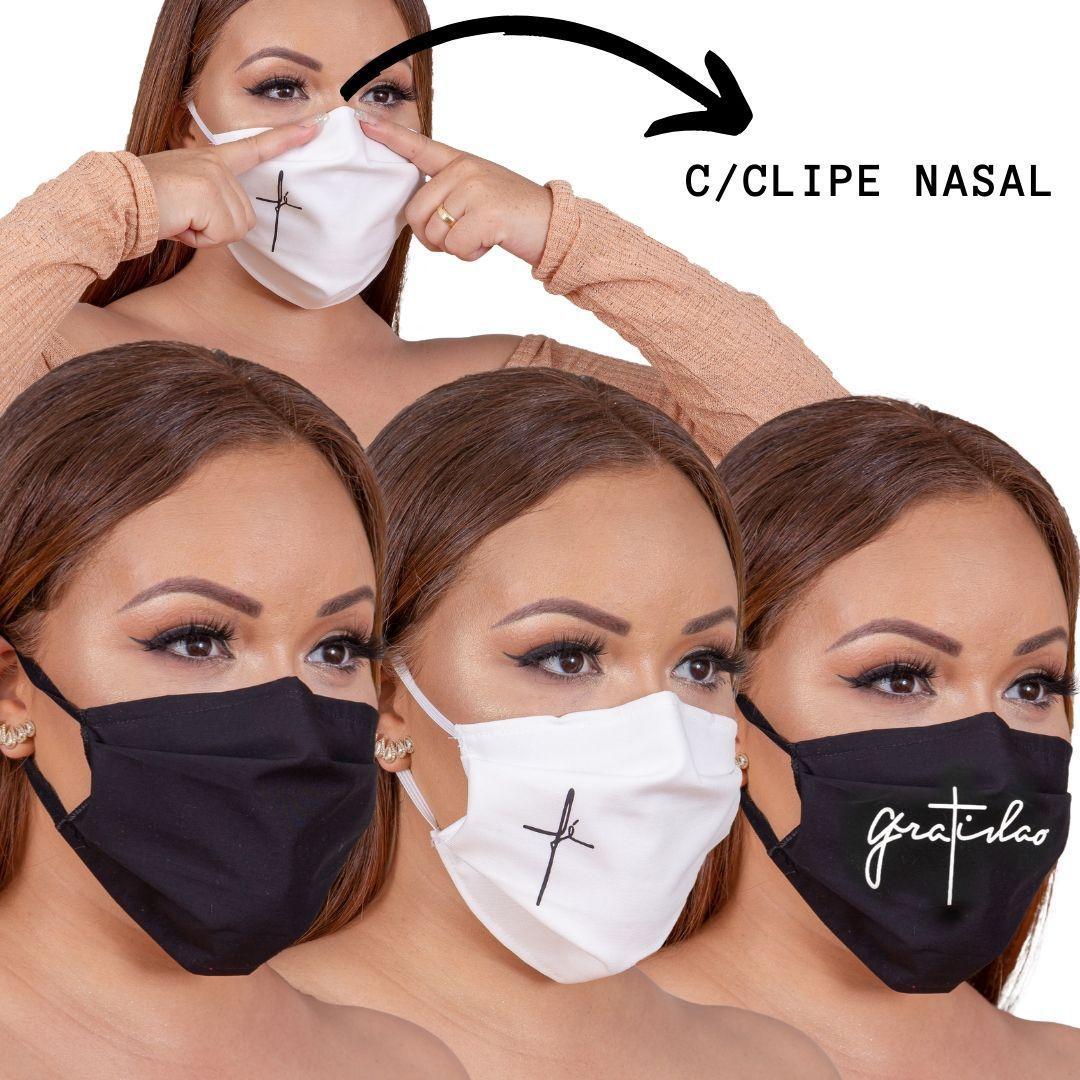 6 Máscara LUXO  proteção para o rosto, tecido algodão com Forro TNT e Clipe Nasal para ajuste no nariz