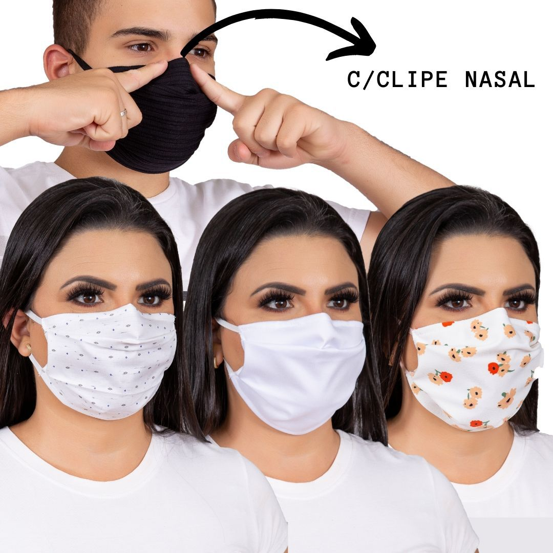 6 Máscara proteção para o rosto, tecido algodão com Forro TNT e ferrinho para ajuste no nariz