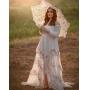 Vestido Amoroso com Sombrinha de Renda Francesa, Abertura e Botões