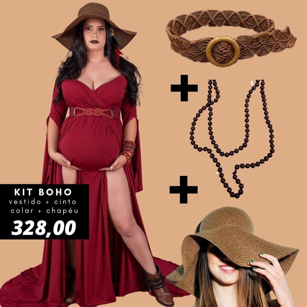 Kit BOHO - Vestido + short + cinto+ colar + chapéu