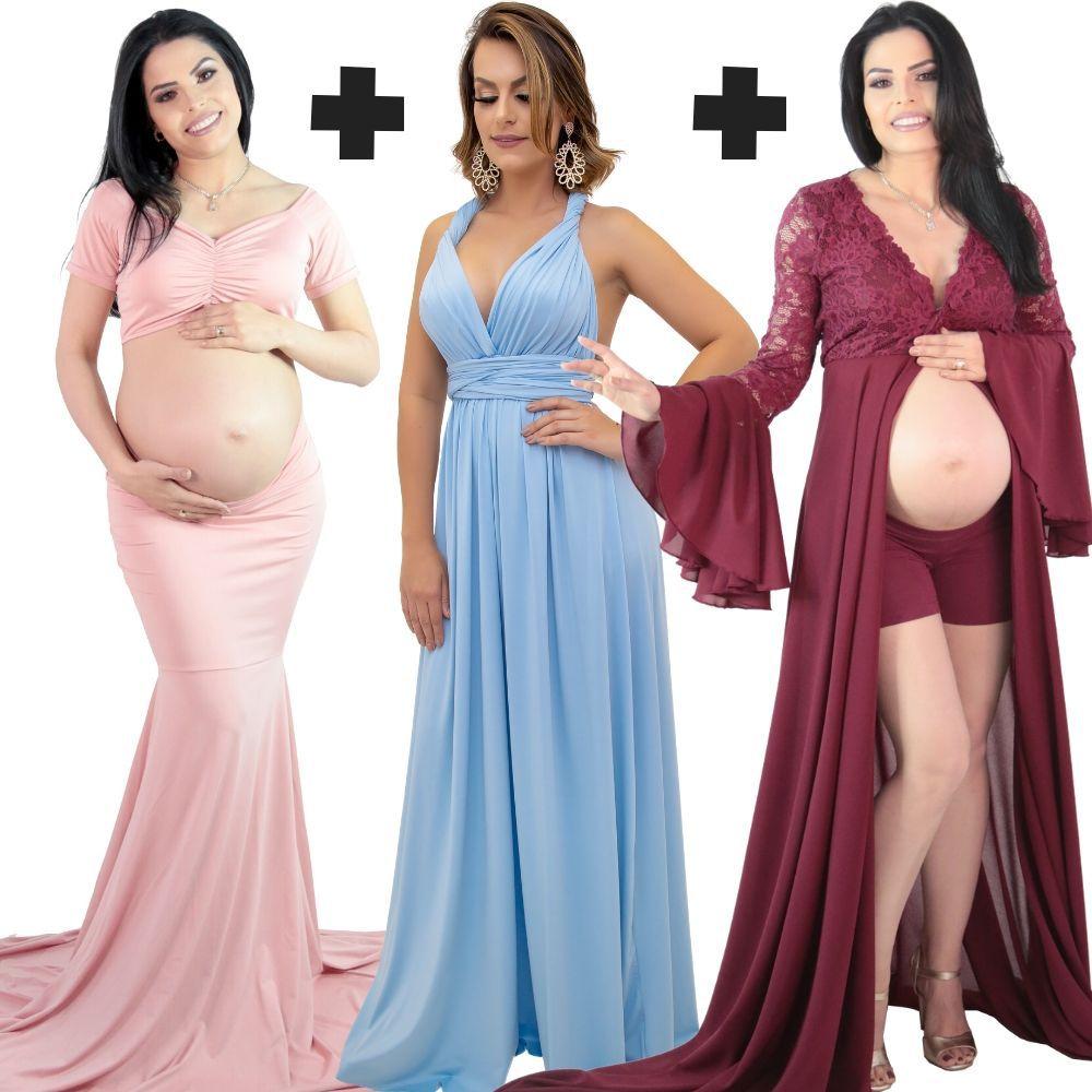COMBO 06 =  Top Cropped com Saia Sereia + Vestido Multiformas  + Vestido Robe Rodrigo couto com short