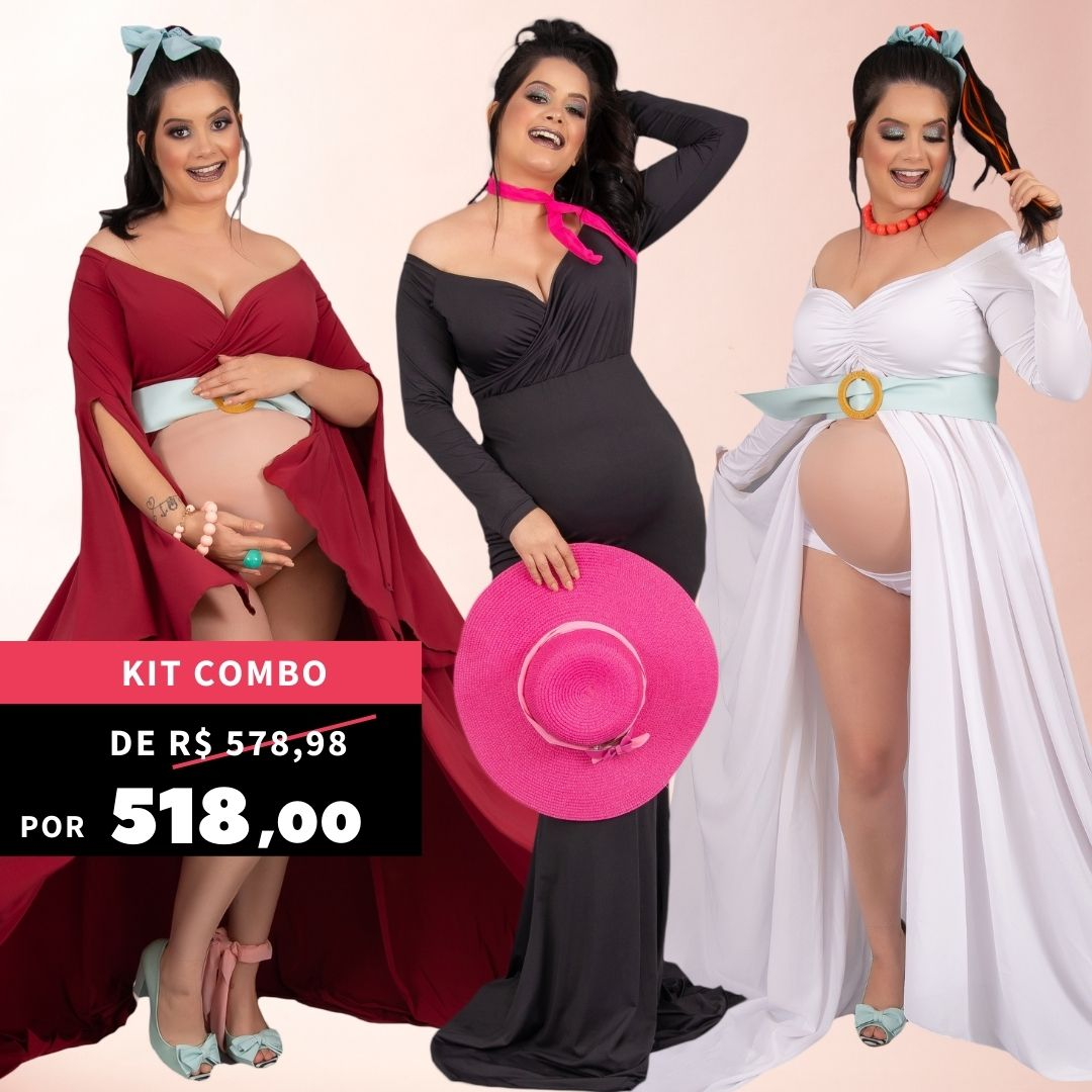 Kit MIDÓRA ESTILIZA - Vestido 2 fendas + Vestido Queridinho (+ shorts de BRINDE) + Vestido Tubinho