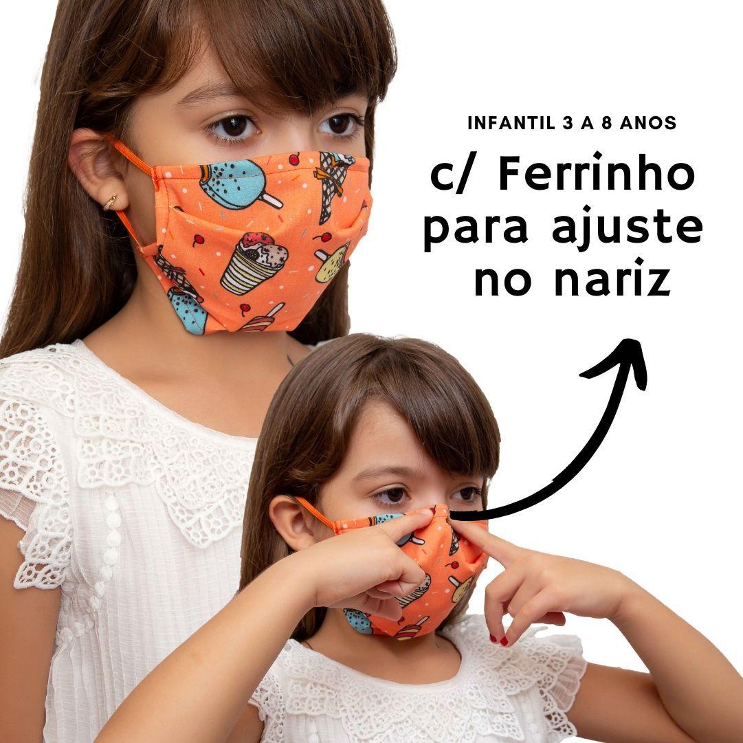 Máscara infantil, tecido algodão com Forro TNT e clipe nasal