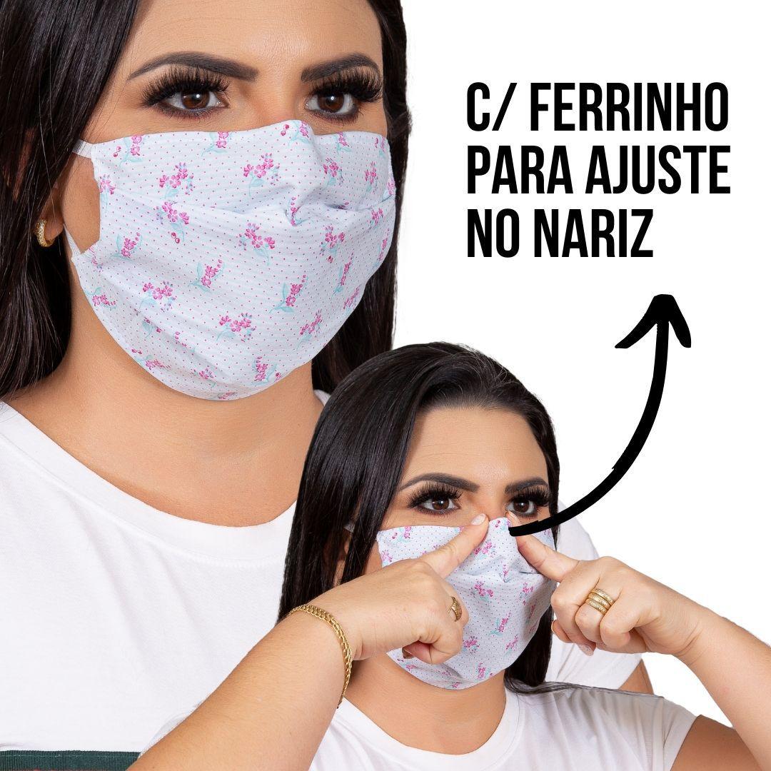Máscara tecido algodão com Forro TNT e clipe nasal
