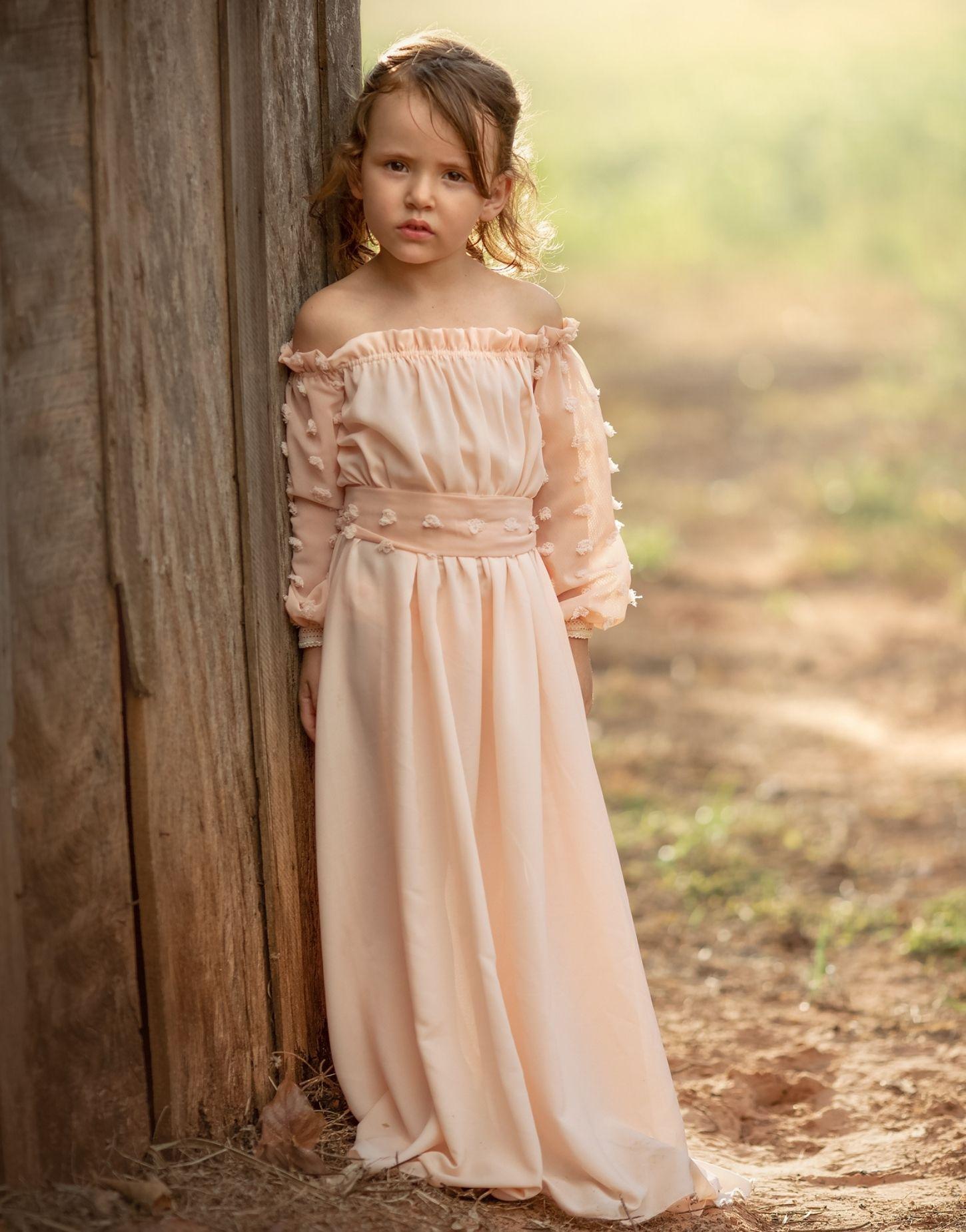 Vestido Carinhoso Infantil Filha para Idade 3 anos a 7 anos