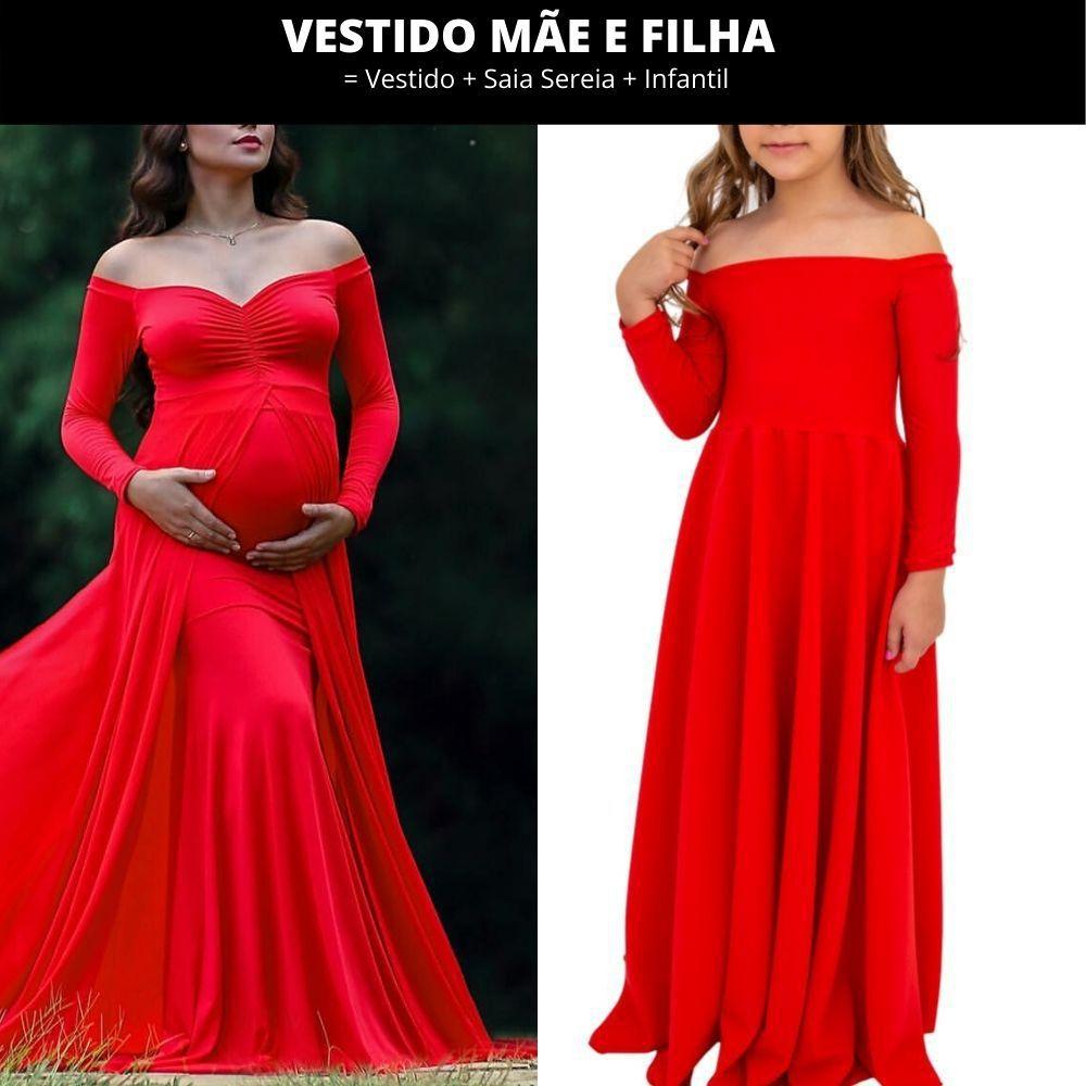 Vestido Mãe e Filha = Vestido + Saia Sereia + Infantil