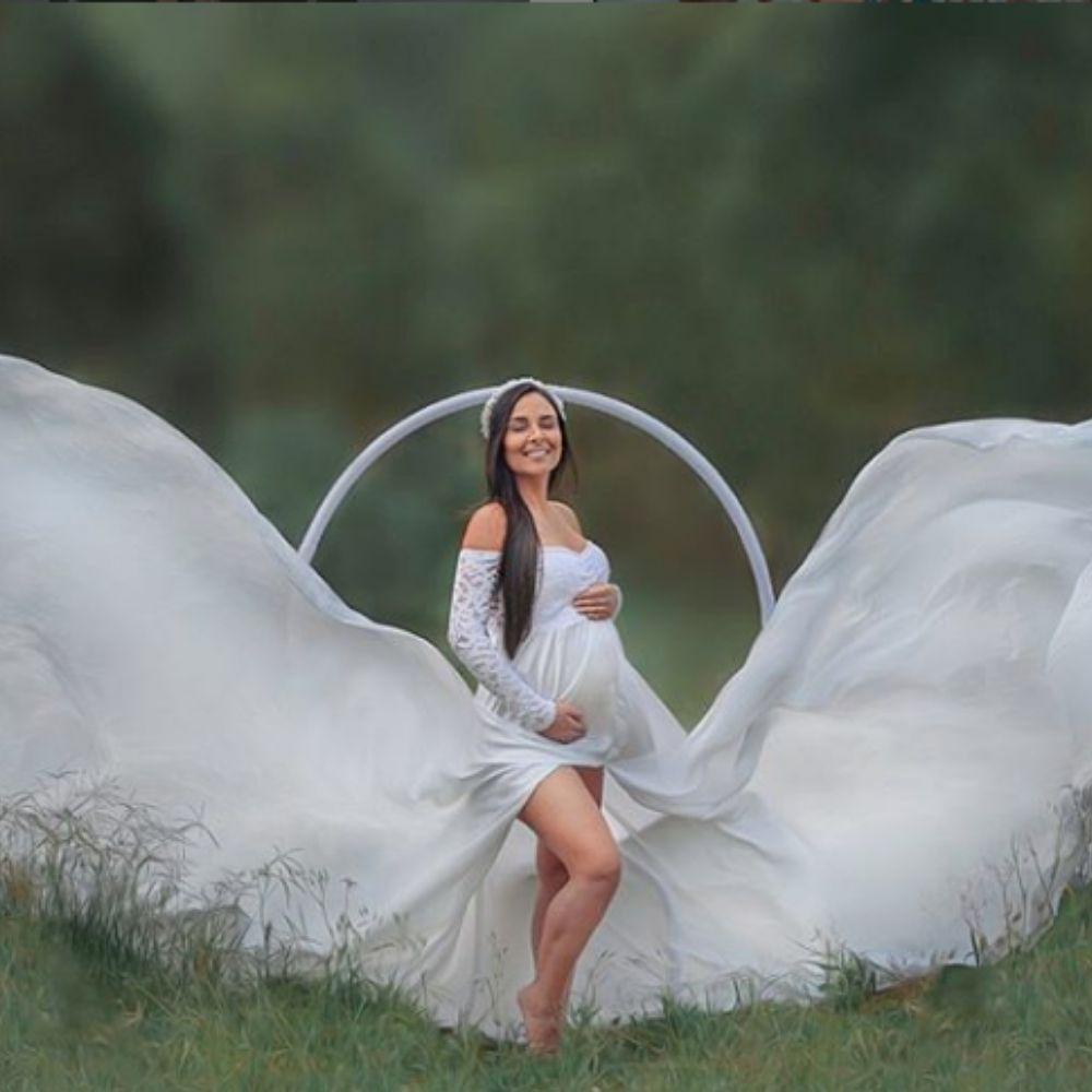 Vestido pré wedding  cauda de 3,0 m com manga de renda