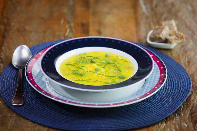 Sopa Creme de Mandioquinha com Ervilha
