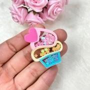 Aplique Acrílico Cupcake Coração