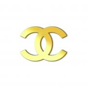 Aplique Espelhado Acrílico Marca Grife Chanel Dourada