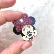 Aplique Acrílico Minnie Rosto Glitter