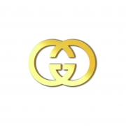 Aplique Espelhado Acrílico Marca Grife Gucci Dourado