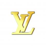 Aplique Espelhado Acrílico Marca Grife Louis Vuitton Dourada