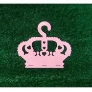 Cabide Porta Laços Acrílico Coroa Rosa Bebê