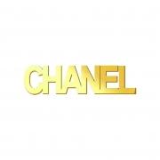 Aplique Espelhado Acrílico Marca Grife Nome Chanel Dourado