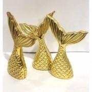 Kit 10 Apliques Cauda Sereia Dourada