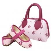 Kit Sapatilha + Bolsa  Rosa Coroa Pink Infantil