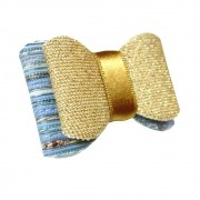 Laço Dourado com Azul Bebê Aplique Pronto