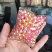 Pérola Inteira Mesclada Pink/Amarelo 8mm