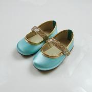 Sapatilha Azul Tiffany Verde Água Tema Jasmine Personagem com Glitter Dourado