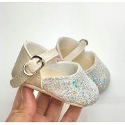 Sapatilha Flocada Glitter Branco/Pérola