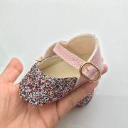 Sapatilha Flocada Glitter Colorido/ Rosa