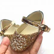 Sapatilha Flocada Glitter Dourada Verniz