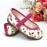 Sapatilha Floral Pink em Algodão com Solado de Borracha