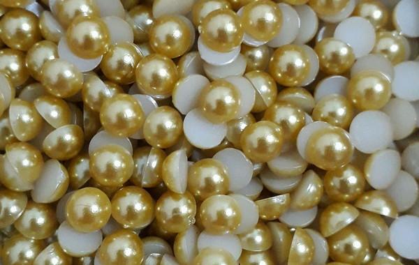 500g Pacote Meia Pérola 6mm Dourada