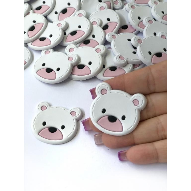 Aplique Emborrachado Ursinho Branco com Rosa
