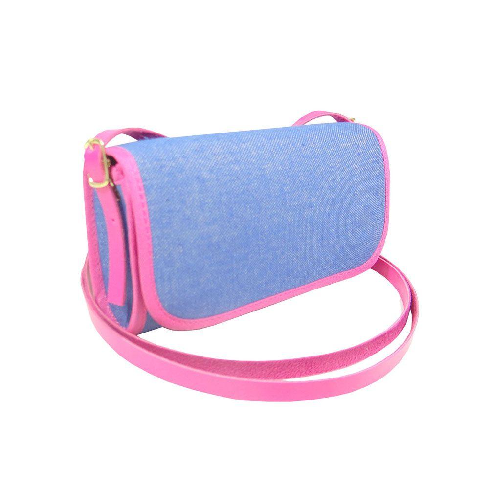 Bolsa Clutch Jeans Com Detalhe Pink