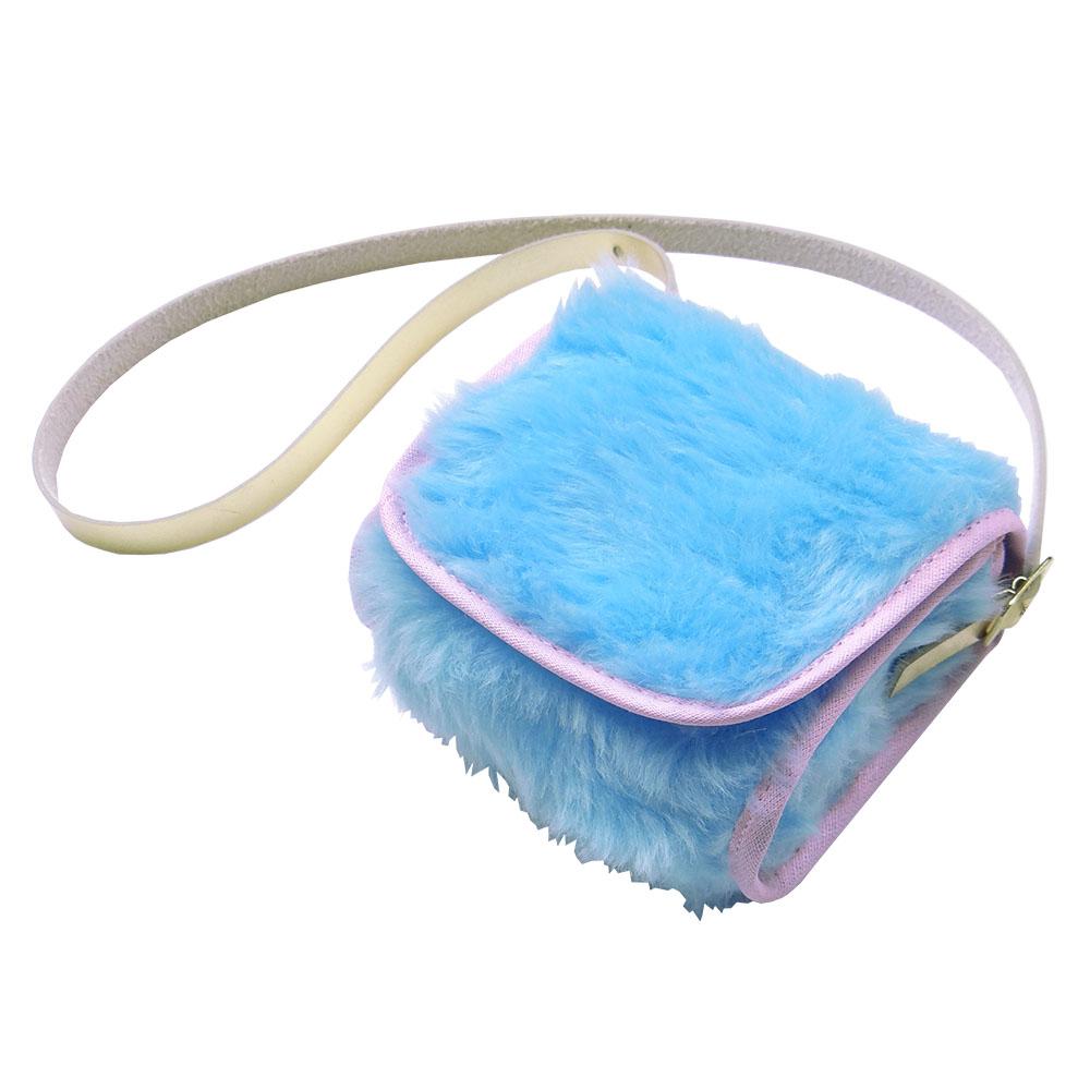 Bolsa Clutch Bebê em Pelúcia Azul Bebê/Rosa