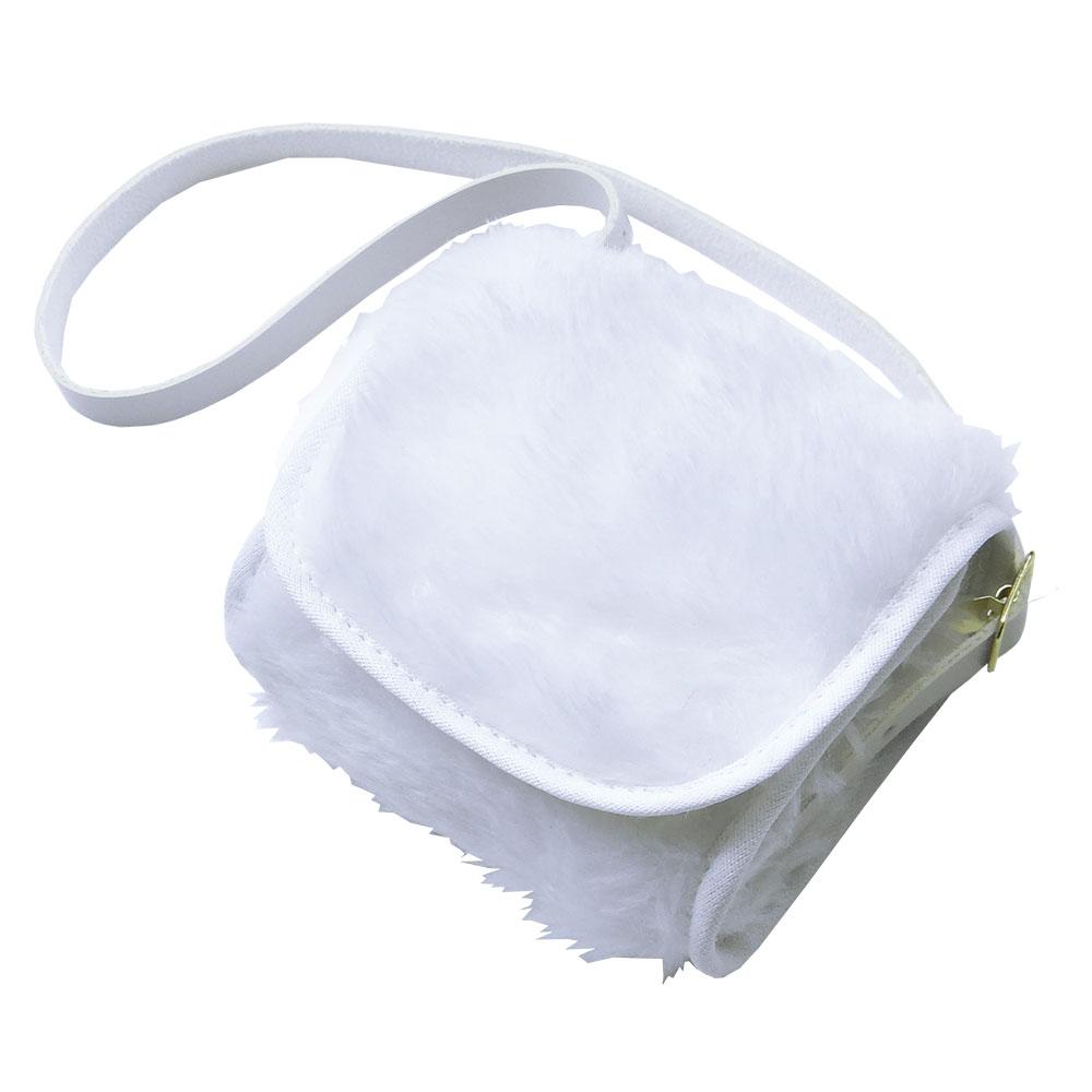 Bolsa Clutch Bebê em Pelúcia Branca