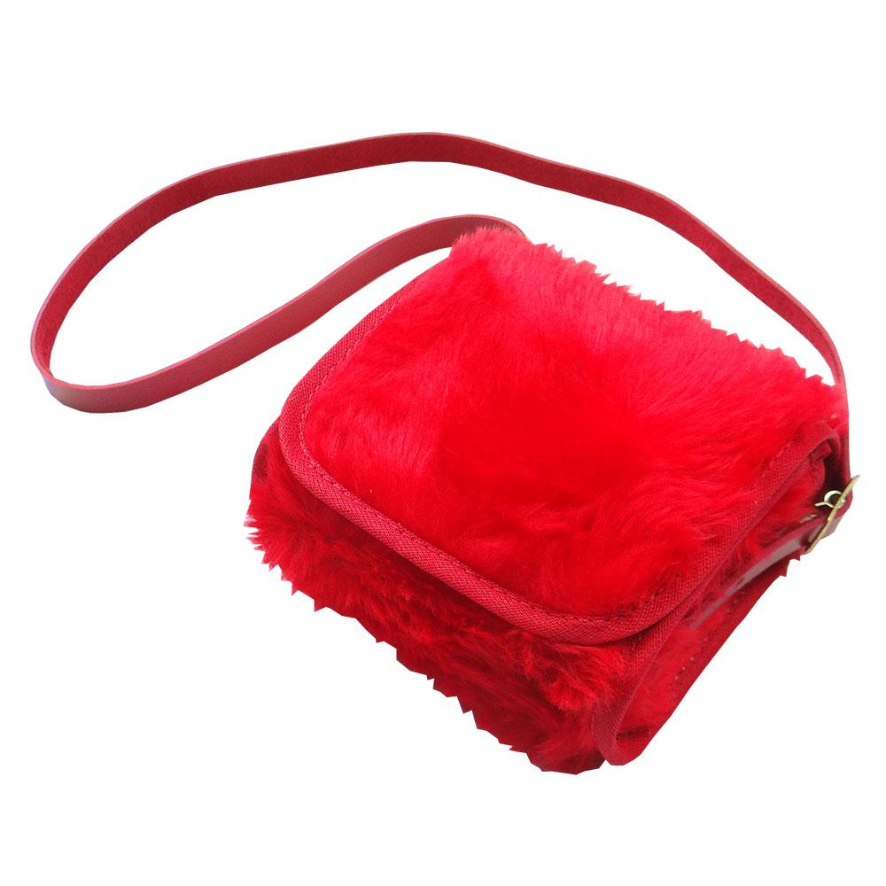 Bolsa Clutch Bebê em Pelúcia Vermelha