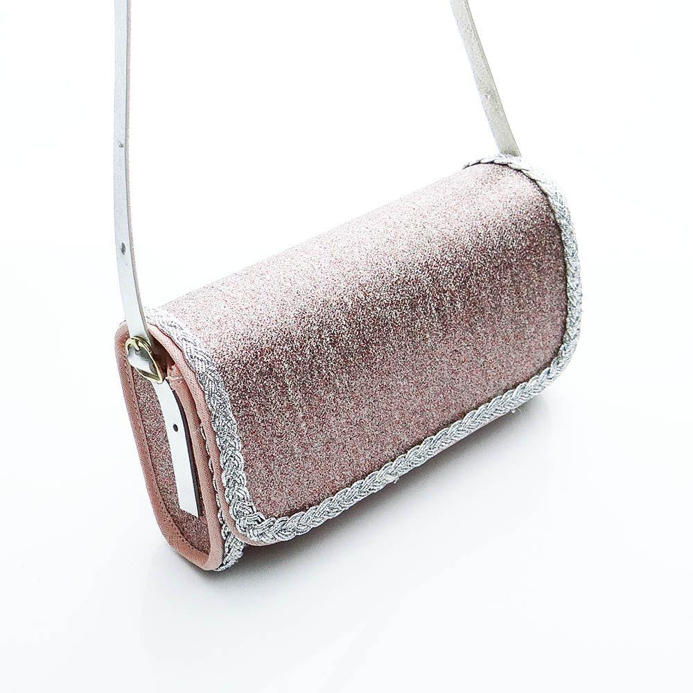 Bolsa Clutch Rosa Luxo Com Trança Prata