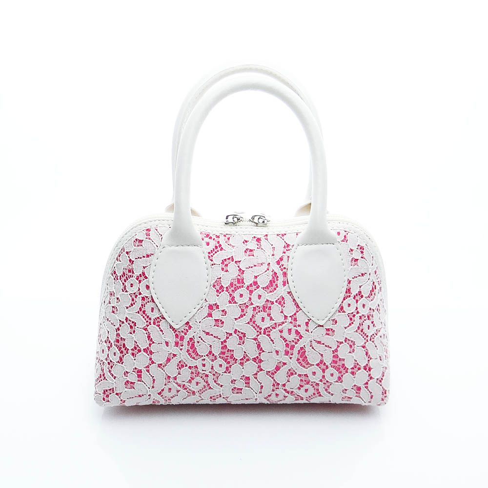 Bolsa Renda Off White Fundo Pink