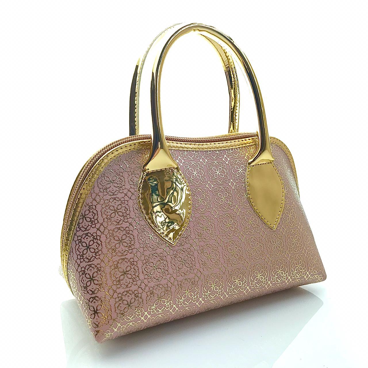 Bolsa Rosê Com Dourado Alto Relevo Floral