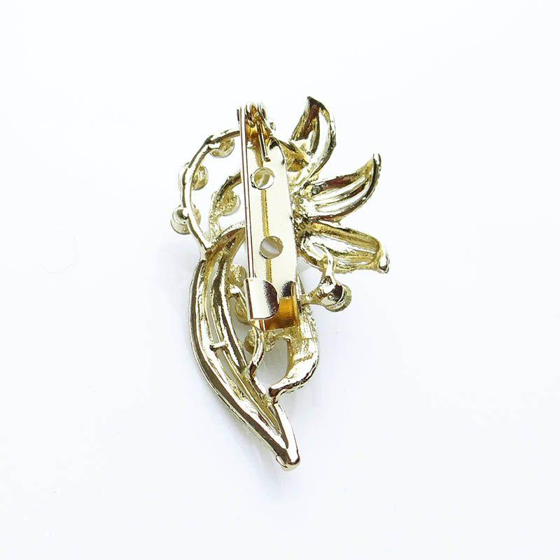 Broche Dourado Flor Strass Pérola 1