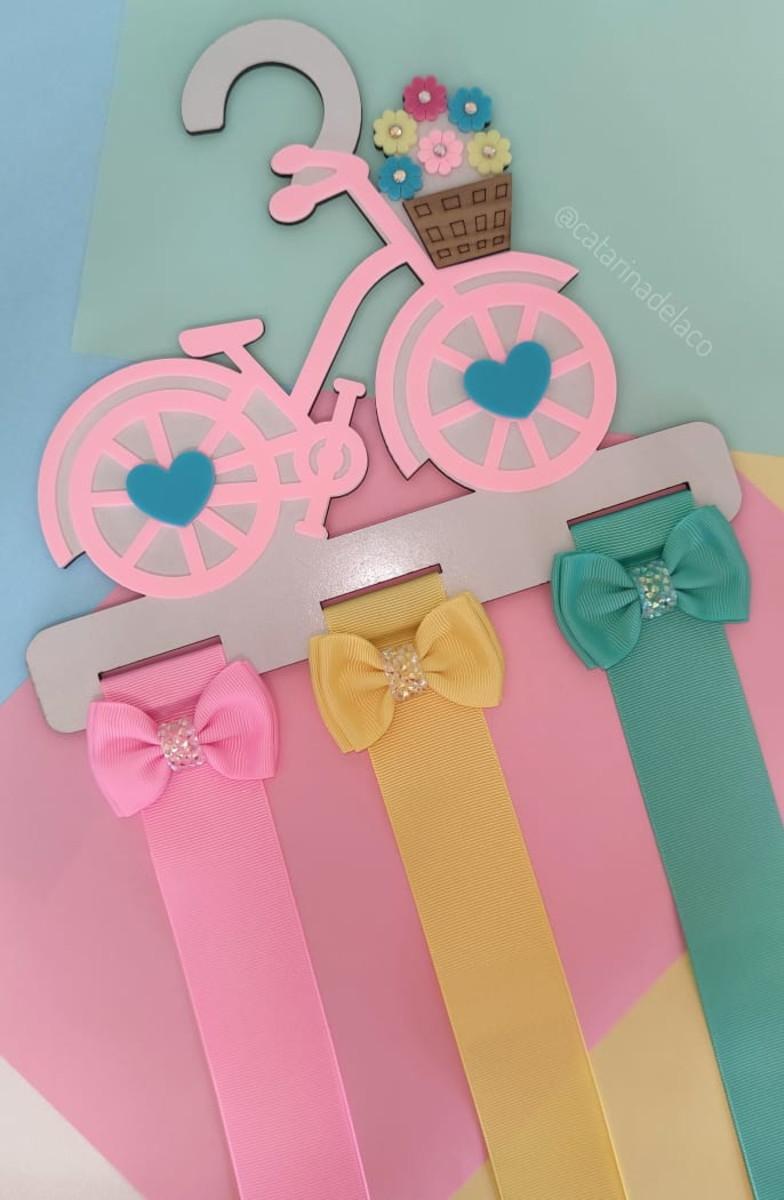 Cabide Porta Laços Bicicletinha Rosa Bebê em MDF