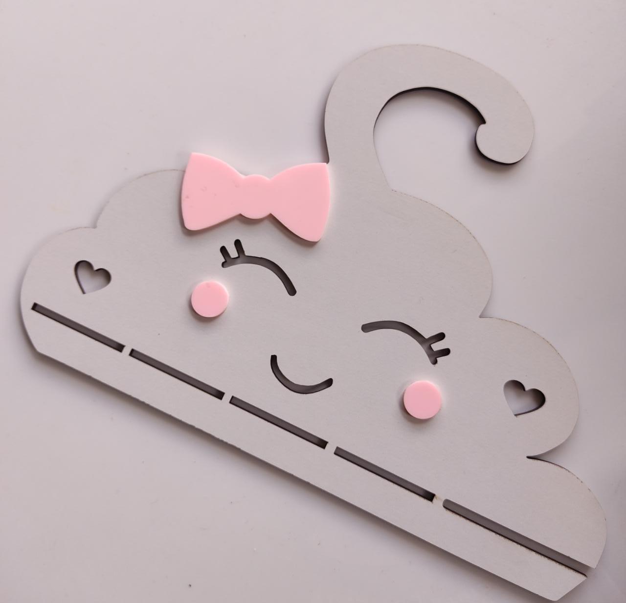 Cabide Porta Laços Nuvem Rosa Bebê Chuva de Amor em MDF