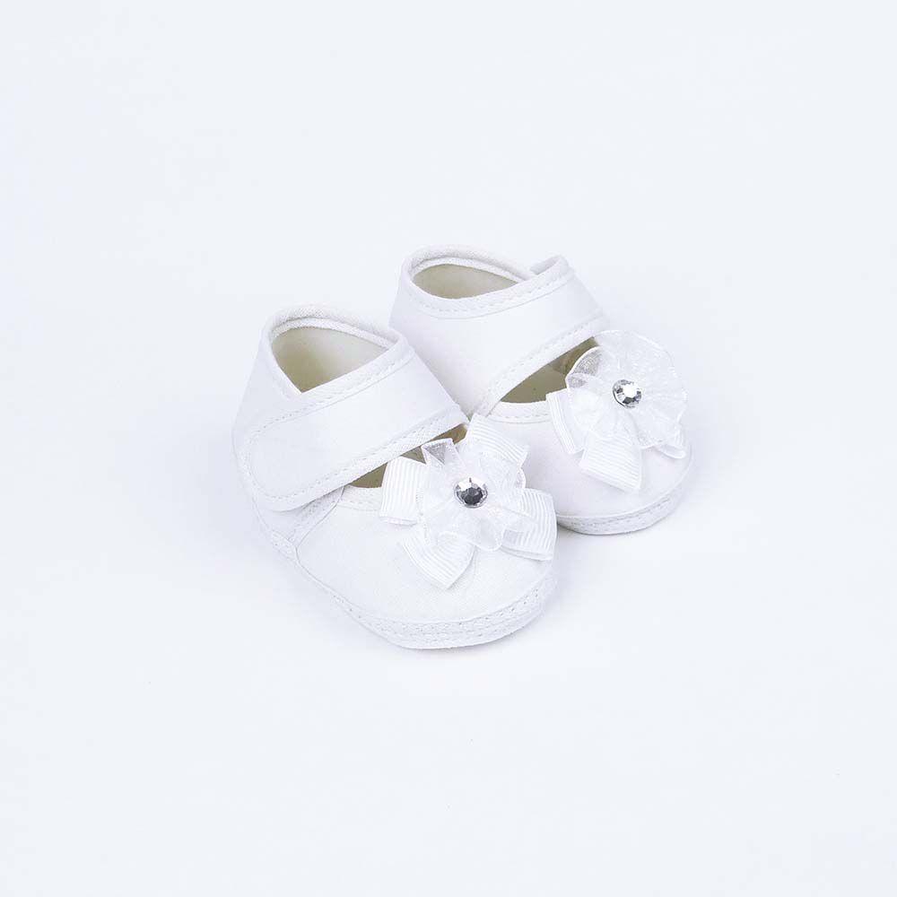 Coleção Rouxinol Sapatilha Branca Flor Batizado