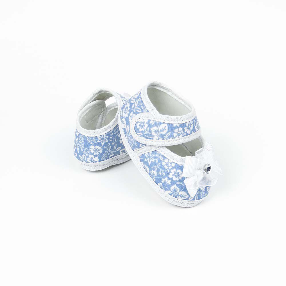 Coleção Rouxinol Sapatilha Floral Azul Bebê