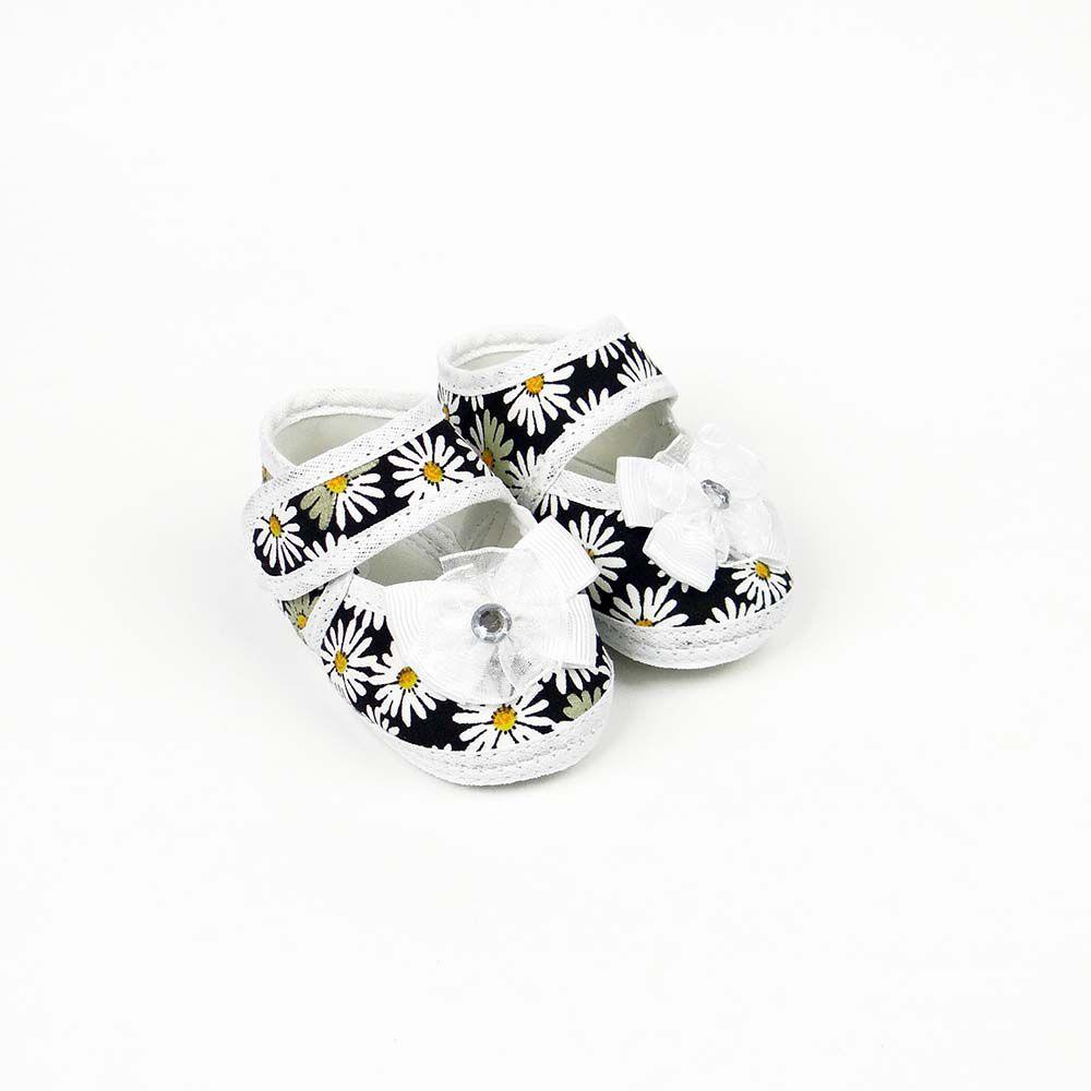 Coleção Rouxinol Sapatilha Floral Preto Flor Branca