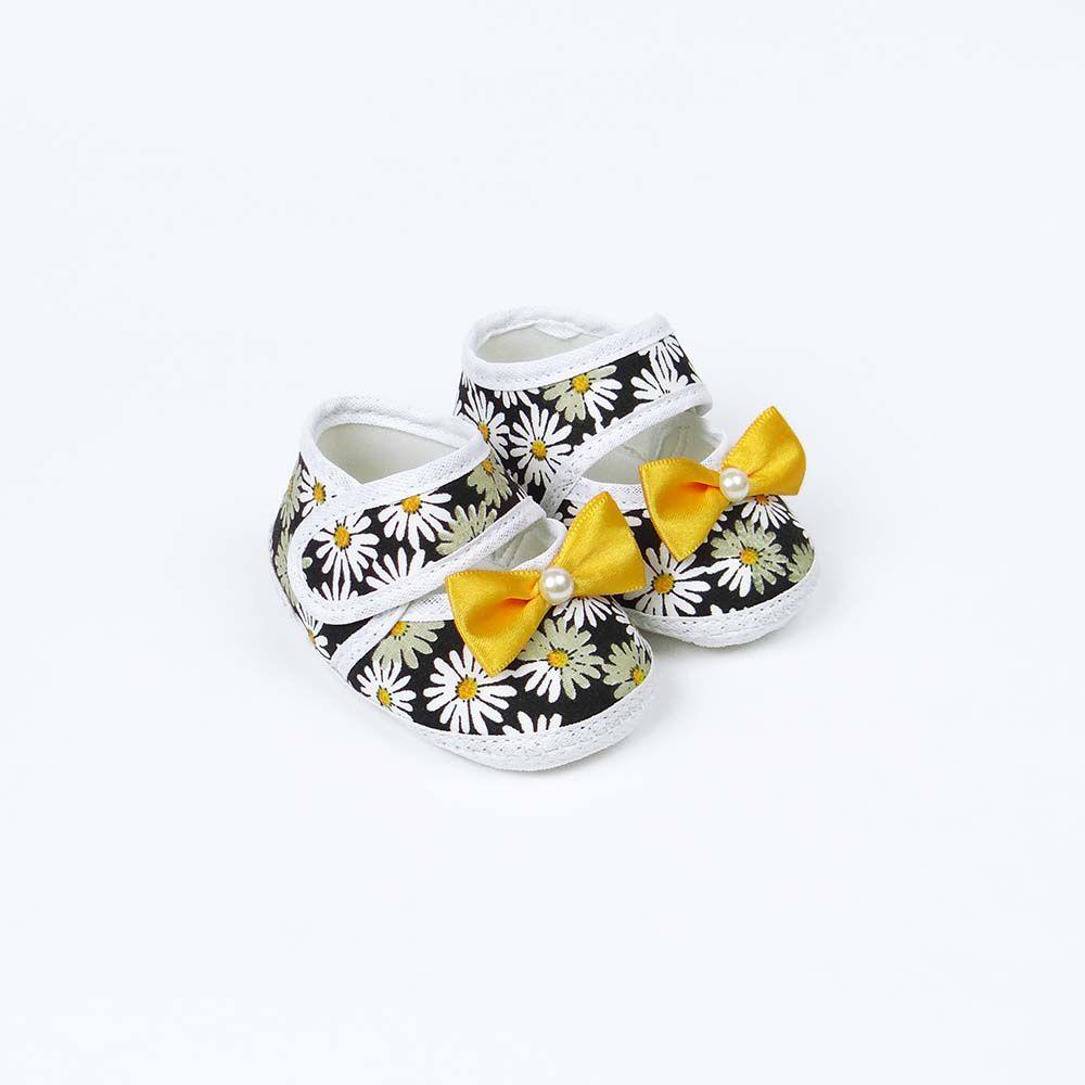 Coleção Rouxinol Sapatilha Floral Preto Laço Amarelo