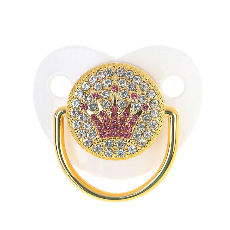 Chupeta Customizada em Strass com Prendedor Personalizada Coroa Branca